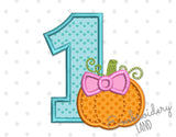 Number 1 Bow Pumpkin Applique TG032