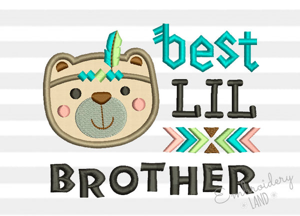Best Lil Brother Bear Native Applique BA039
