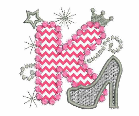 Pink Silver Letter K High Heel Shoe Appliqué Dl015 Embroideryland