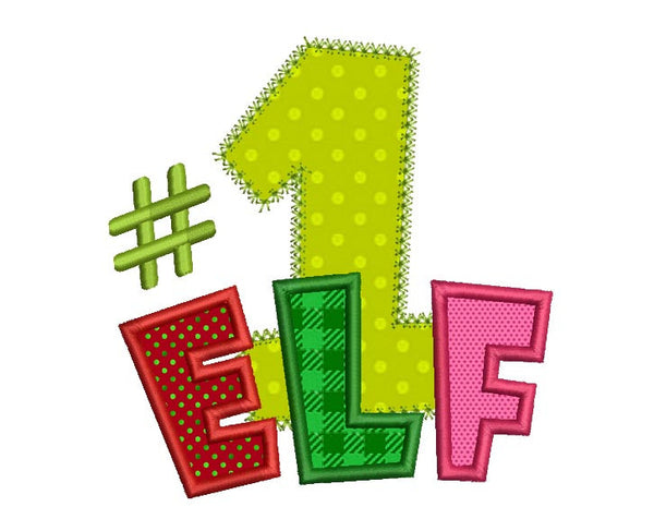 Number One Elf Christmas Appliqué CHR050