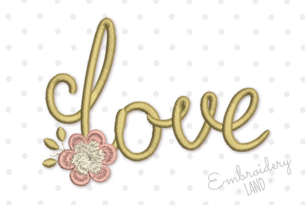 Love Flower Valentine's Day Embroidery Design 3 sizes VA051