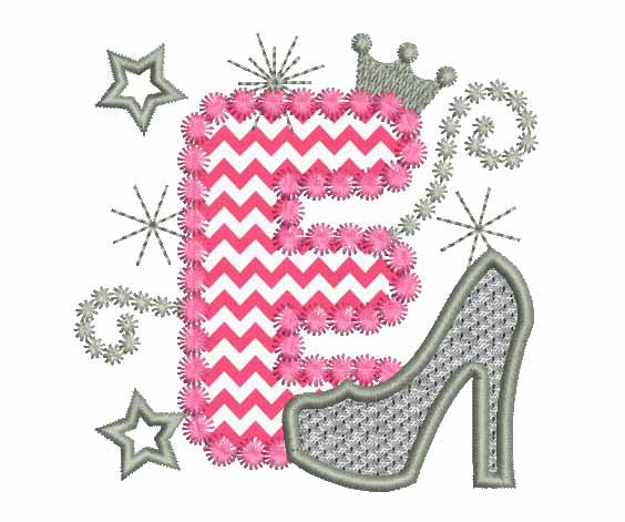 Pink Silver Letter E High Heel Shoe Appliqué DL009