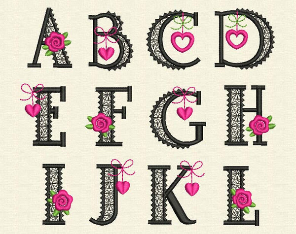 Glamour Machine Embroidery Alphabet AL002