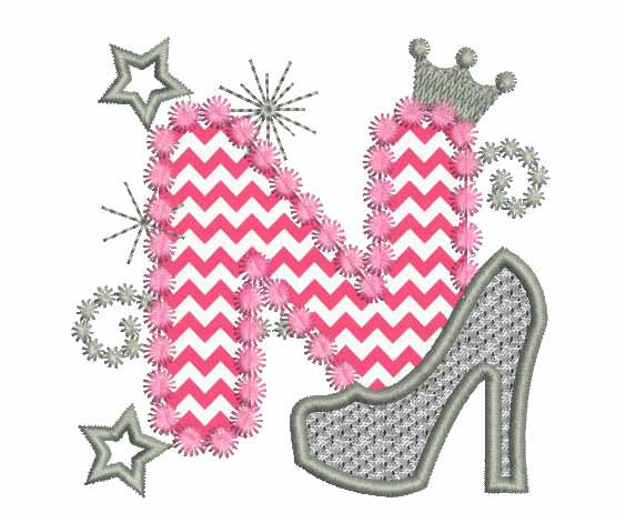 Pink Silver Letter N High Heel Shoe Appliqué DL016