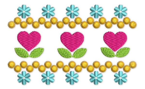 Heart Flowers Filled Embroidery Design VA038