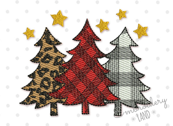 Christmas Trees Filled Embroidery Design CHR094