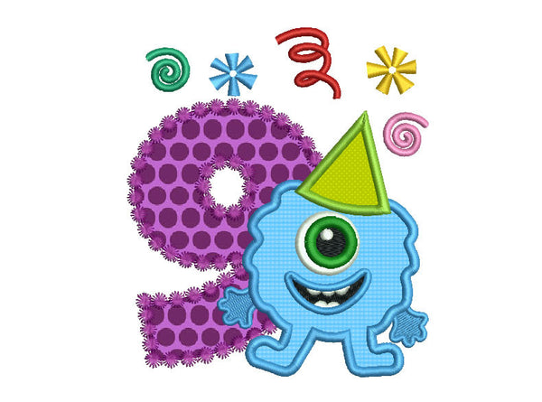 Funny Monster Birthday Number 9 Applique HB065