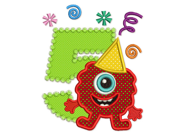 Funny Monster Birthday Number 5 Applique HB062