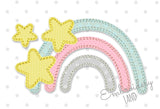 Rainbow with Stars Free Edge Applique  DE090