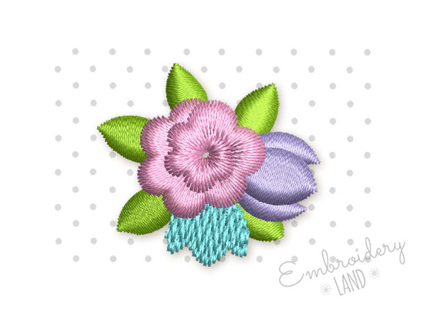 Flower Bouquet Mini Embroidery Designs in 3 sizes FL006