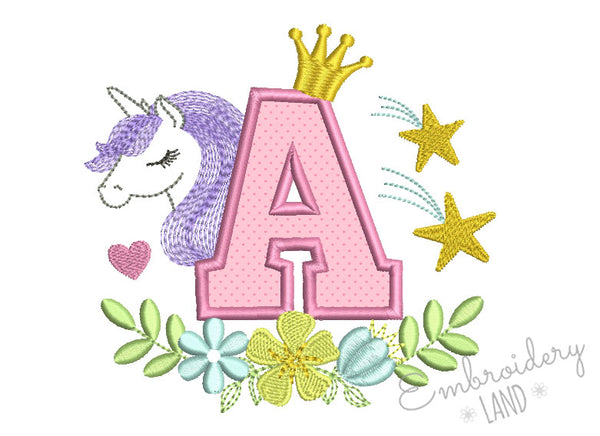 Unicorn Applique Letter A DL169