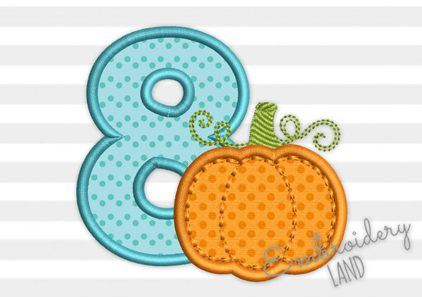 Number 8 Pumpkin Applique TG031