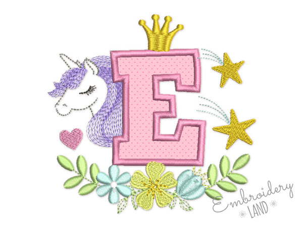 Unicorn Applique Letter E  DL172