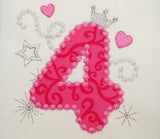 Bithday Numbers Set Pink Glamour for Girl 0-9 Applique Embroidery Design HB014