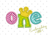 One Biirthday with Crown Applique HB085