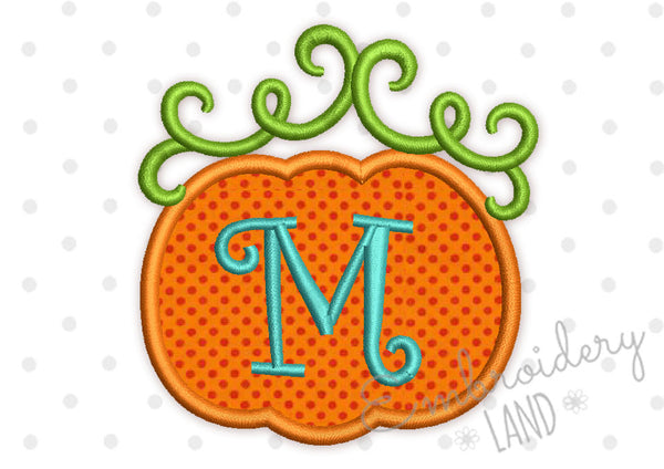 Whimsical Pumpkin Font Frame Monogram Applique 6 sizes FF034