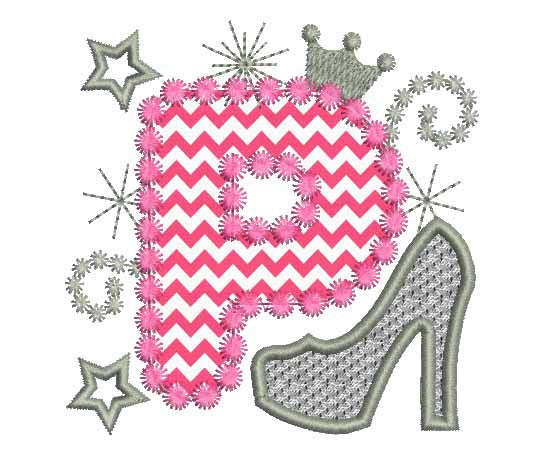 Pink Silver Letter P High Heel Shoe Appliqué DL018