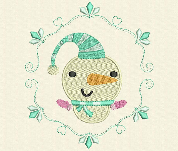 Kawaii Snowman Christmas Embroidery Design CHR023