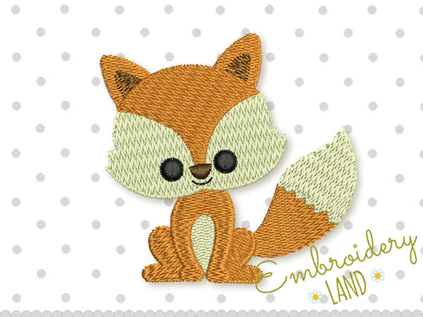 Little Foxy Filled Embroidery Design AN031