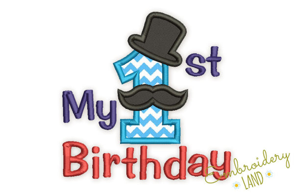 My First Birthday Number 1 Mustache Applique HB083
