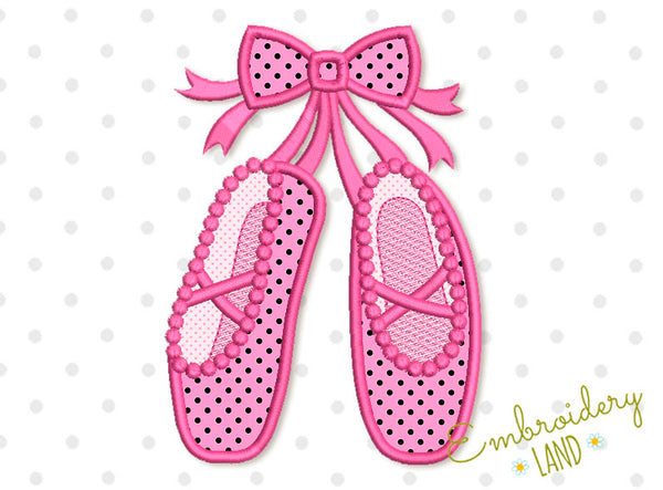 Ballet Shoes with Bow Applique GRL017