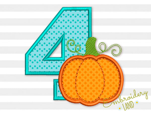 Number 4 Pumpkin Applique TG027