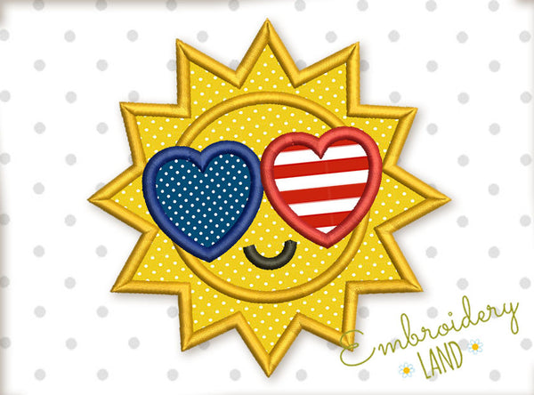 Sun I Love USA Applique DE044