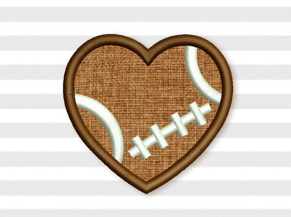 Football Heart Ball Applique SP020