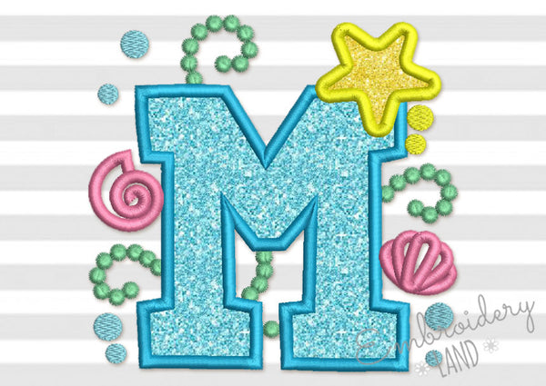 Cute Mermaid Sea Letter M Applique DL156