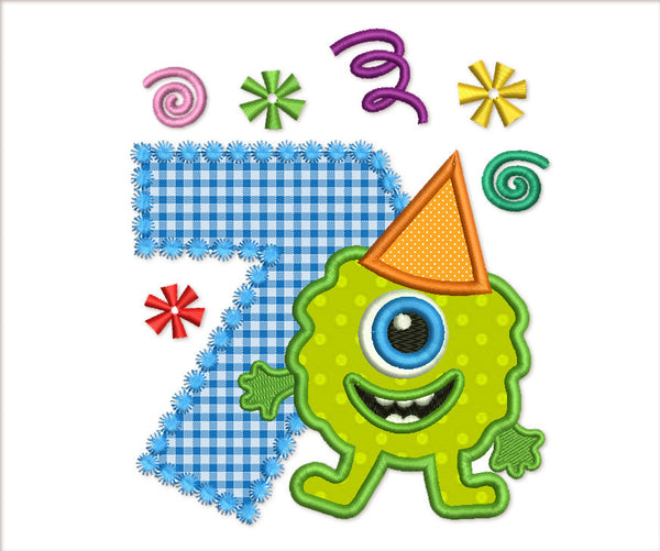Funny Monster Birthday Number 7 Applique HB064