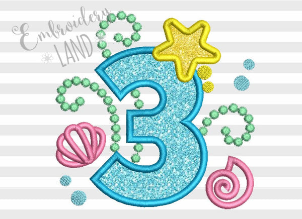 Cute Mermaid Sea Number 3 Applique HB071