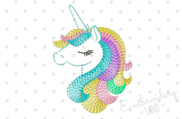 Beautiful Unicorn Machine Embroidery Design By