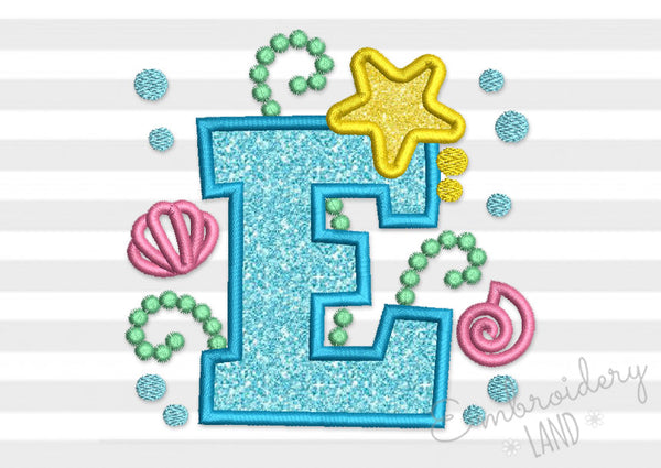 Cute Mermaid Letter E Applique DL150