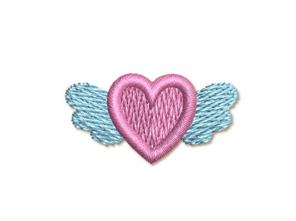 Winged Heart Mini Filled Embroidery Design M12
