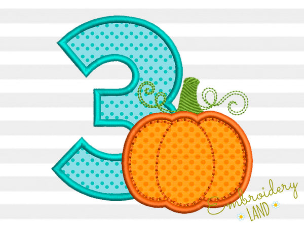 Number 3 Pumpkin Applique TG020