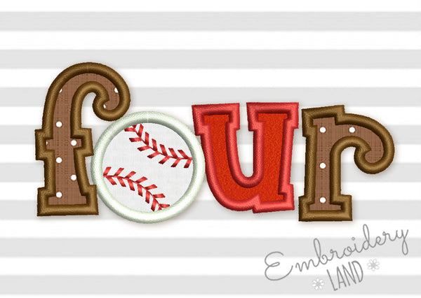 Four Baseball Birthday Applique SP022