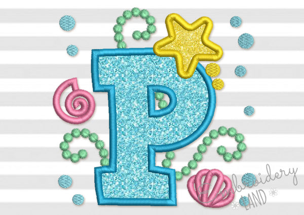 Cute Mermaid Sea Letter P Applique DL157