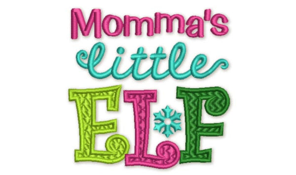 Momma's Little Elf Christmas Embroidery Design CHR054