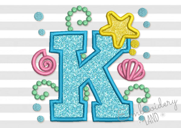 Cute Mermaid Sea Letter K Applique DL155