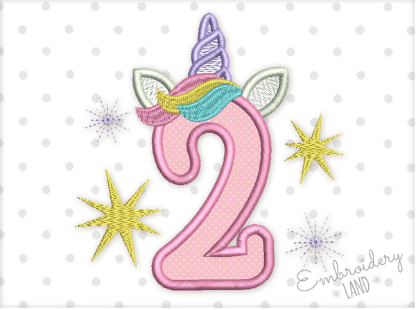 Unicorn Number 2 Applique HB093