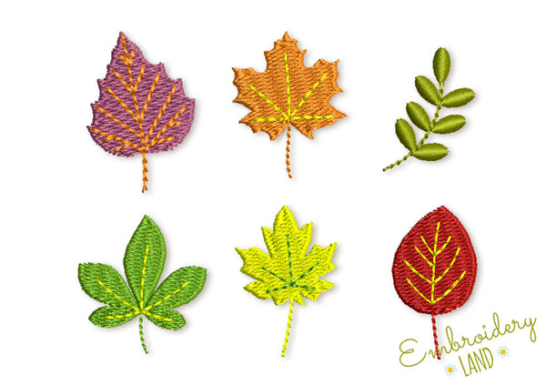Fall Leaves Embroidery Designs Set DE062
