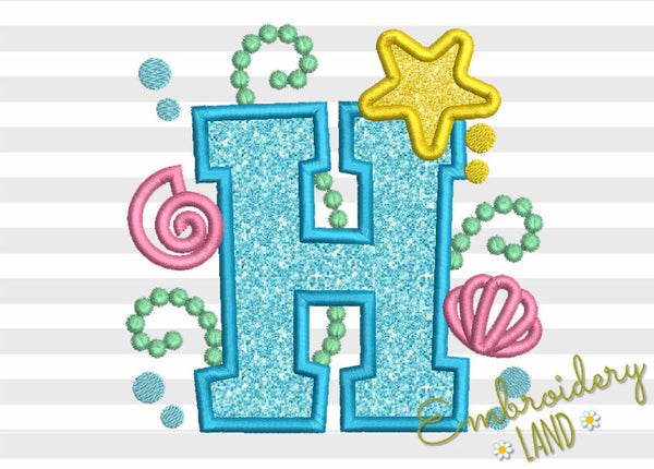Mermaid Letter H Applique DL145