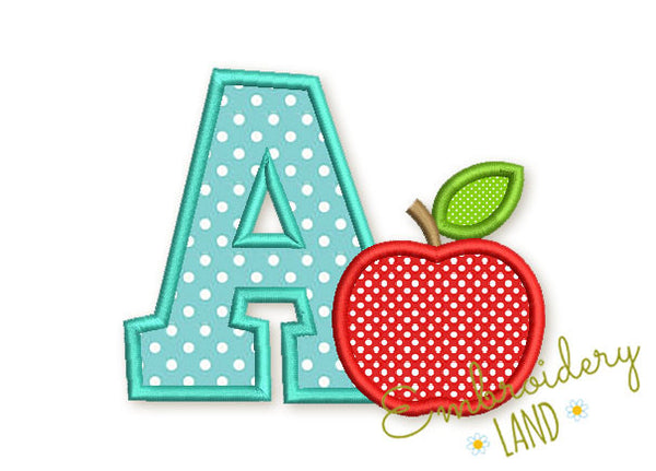 Letter A and Apple Applique BA031
