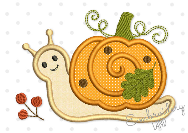 Cute Pumpkin Snail Applique TG029