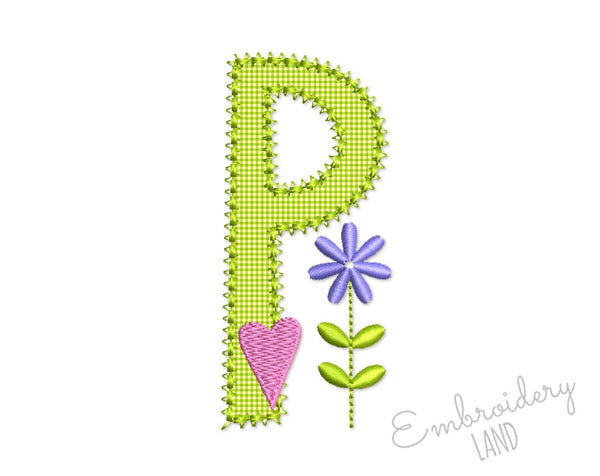 Romantic Letter P Applique DL202