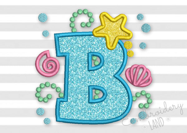 Cute Mermaid Letter B Applique DL148