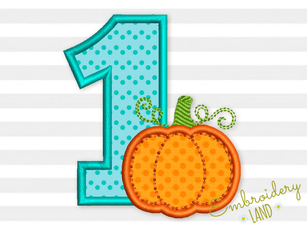 Number 1 Pumpkin Applique TG017