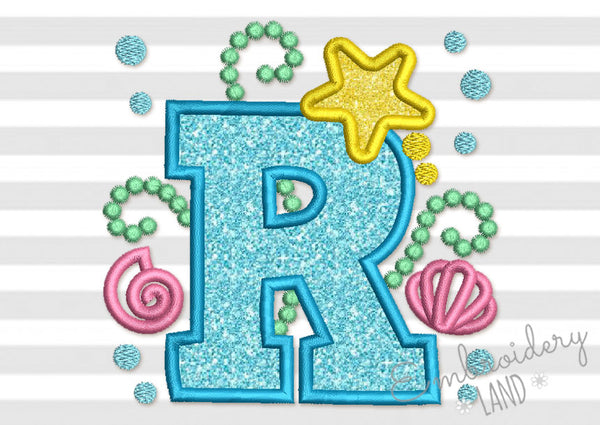 Mermaid Letter R Applique DL160