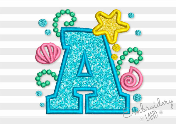 Cute Mermaid Sea Letter A Applique DL146