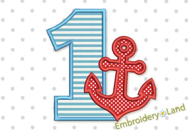 Anchor Number 1 Applique Design HB069